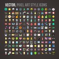 Vector color pixel art style icons set this is file of eps format Royalty Free Stock Images