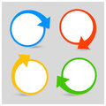Vector color set icon with arrows four colors rotation place for your text Stock Photo
