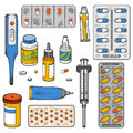 Vector color set of medical items Royalty Free Stock Photo
