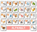 Vector color zoo alphabet. Square card with animals