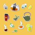 Vector cartoon tea kettles and cups stickers set illustration
