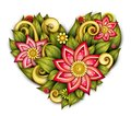 Vector Colored Floral Composition in Heart Shape Royalty Free Stock Photo