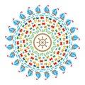 Vector colored round navy mandala symbols