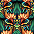 Vector Colored Seamless Pattern with Floral Ornament