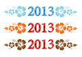 Vector colorful aloha 2013 text with hibiscus Stock Photography