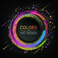 Vector colorful banner. Bright colored brush strokes. Colorful abstract circles. Grunge texture. A piece of chalk. Dark background