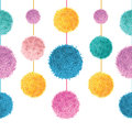 Vector Colorful Birthday Party Pom Poms On Strings Set Horizontal Seamless Repeat Border Pattern. Great for handmade