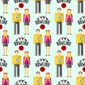 Vector colorful bowling seamless pattern background sport strike pin symbol ball skittle game equipment illustration. Royalty Free Stock Photo