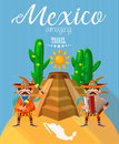 Vector colorful card about Mexico. Amazing Mexico. Colorful style. Viva Mexico. Travel poster with mexican items.