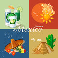 Vector colorful card about Mexico. 4 banners. Colorful style. Viva Mexico. Travel poster with mexican items.