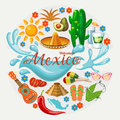 Vector colorful card about Mexico. Circle shape. Colorful style. Viva Mexico. Travel poster with mexican items.