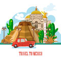 Vector colorful card about Mexico. City view. Rerto style. Viva Mexico. Travel poster with mexican items.