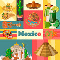Vector colorful card about Mexico. Colorful background. Viva Mexico. Travel poster with mexican items.