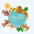 Vector colorful card about Mexico. Earth shape. Colorful style. Viva Mexico. Travel poster with mexican items.