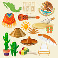 Vector colorful card about Mexico. Mexican set. Colorful style. Viva Mexico. Travel poster with mexican items.