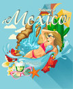 Vector colorful card about Mexico. Ocean shore. Amazing Mexico. Colorful style. Viva Mexico. Travel poster with mexican items.