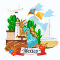 Vector colorful card about Mexico. Ocean shore. Rerto style. Viva Mexico. Travel poster with mexican items.