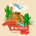 Vector colorful card about Mexico. Pyramid. Colorful style. Viva Mexico. Travel poster with mexican items.