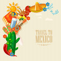 Vector colorful card about Mexico. Rerto colorful style. Viva Mexico. Travel poster with mexican items.