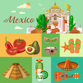 Vector colorful card about Mexico. Vintage poster. Viva Mexico. Travel poster with mexican items.