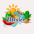 Vector colorful card about Mexico. Waterfall. Colorful style. Viva Mexico. Travel poster with mexican items.