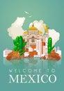 Vektor farbistý karta pyramída o mexiko