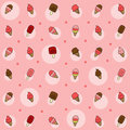 Vector colorful cartoon ice cream background pattern Royalty Free Stock Photo