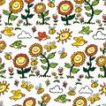 Vector colorful cartoon sunflowers, birds and bees repeat pattern. Suitable for gift wrap, textile and wallpaper