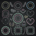 Vector Colorful Chalk Drawing Floral Frames