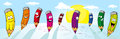 Vector colorful crayons drawing on white paper panoramic view Royalty Free Stock Images