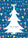 Vector colorful doodle bunting flags christmas tree silhouette pattern frame card template graphic design Stock Photo