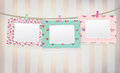 Vector colorful empty photo frames on vintage ba background is my creative handdrawing and you can use it for valentines scarbook Stock Photo