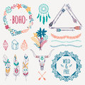 Vector colorful ethnic set with arrows, feathers, crystals Royalty Free Stock Photo