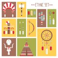 Vector colorful ethnic set with dream catcher, Royalty Free Stock Photo