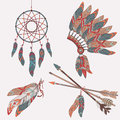 Vector colorful ethnic set with dream catcher, feathers, arrows Royalty Free Stock Photo