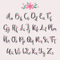 Vector colorful flower font nature colorful summer type and hand drawn alphabet spring beautiful flora set blossom
