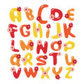 Vector colorful flowers font alphabet Royalty Free Stock Photo
