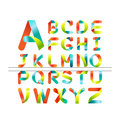 Vector colorful font. colorful ribbon alphabet.Capital letter A to Z Royalty Free Stock Photo