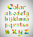 Vector colorful font. colorful ribbon alphabet. Lowercase a-z. Vector illustration.