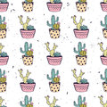 Vector colorful hand drawn seamless pattern with cactuses and succulents