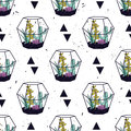 Vector colorful hand drawn seamless pattern with triangles, cactuses and succulents in terrariums