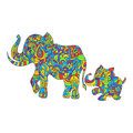 Vector colorful hand drawn zentagle illustration of an elephant