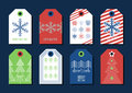 Vector colorful holiday gift tags and outline label set. Royalty Free Stock Photo
