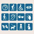 Vector colorful icon set of access signs for physically disabled people Royalty Free Stock Photo