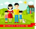 Vector colorful illustration of asian family and house in flat style set pictures landscape with home concept Royalty Free Stock Photos