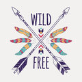 Vector colorful illustration with crossed ethnic arrows, feathers and tribal ornament Royalty Free Stock Photo