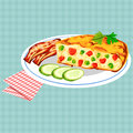 Vector colorful illustration of tasty breakfast