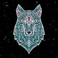 Vector colorful illustration of tribal style wolf with ethnic ornaments