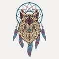 Vector colorful illustration of tribal style wolf with ethnic ornaments and dream catcher