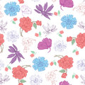 Vector colorful kimono flowers on white seamless pattern graphic design Stock Photos